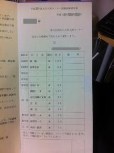 ほほう知恵袋管理人のセンター試験成績表
